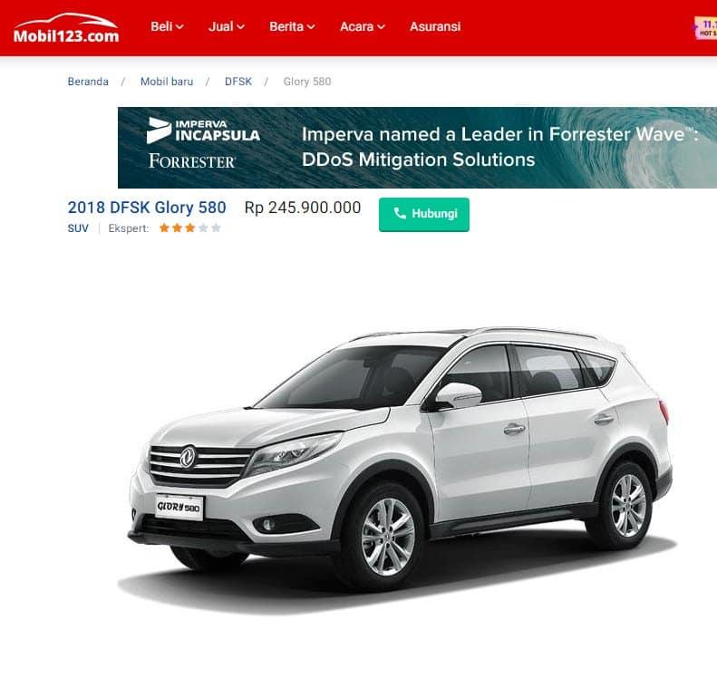 Cara Membeli Mobil DFSK Glory 580 online