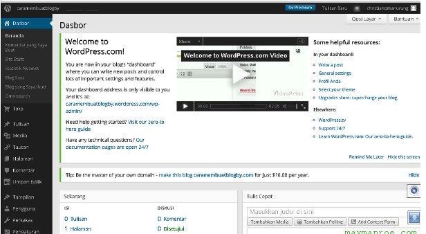 Cara Membuat Blog Atau Website Gratis wordpress