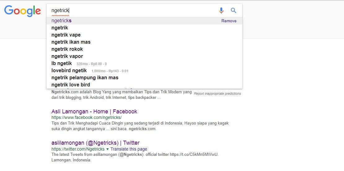 menggunakan google auto complete
